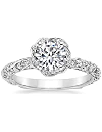 7c7aa34fc658 Addamas Solid White Gold Rings for Women Girls Gifts 1.10ct Round Halo Cut  Diamonds Ring