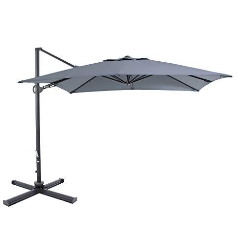 Ampelschirm Sonnenschirm | Grau | 300 x 300 cm | DOUBLE TILT | Viereckig / Quadratisch | SORARA |...
