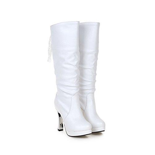 Balamasaabl09680 - Botas Rizadas De Mujer Blanca