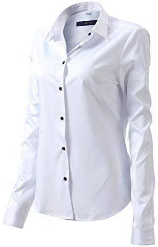 Damen Bluse aus Bambusfaser Elastisch Slim Fit Hemd für Freizeit Business Figurbetonte Hemdbluse Langarm Elegant Shirt Bügelfrei Weiß 44
