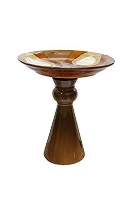 Plutus Brands 16 Inch H Ceramic Bird Bath UE10545 from Plutus Brands