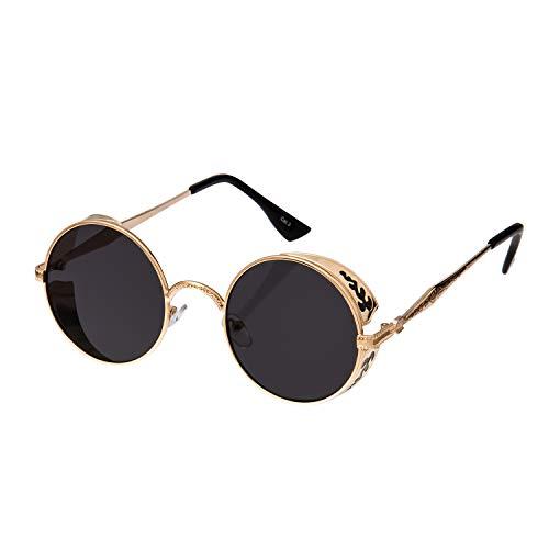 Ultra Gold mit Schwarzen Gläsern Steampunk Sonnenbrille Retro Damen Herren Rund Rave Gothic Vintage Victorian Kupfer UV400 Schutz Metall Unisex