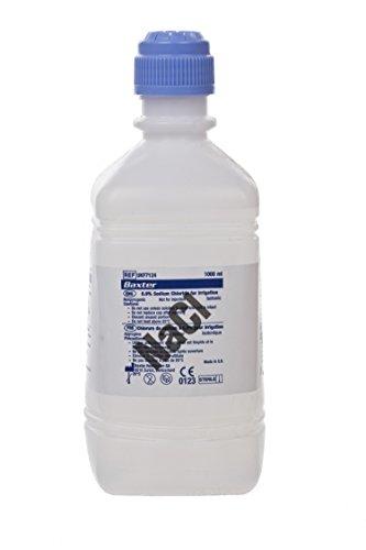 Baxter Healthcare trf7124POUR Flasche, Natriumchlorid 0,9% für Bewässerung, 1000ml Fassungsvermögen, weiß transluzent (Pack von 6)