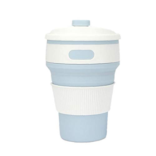 Multi-Function Folding Silica Cup Folding Bewegliches Silikon-Teleskop Trinken Zusammenklappbare Kaffeetasse Für Reise Verwenden Light Blue Light Blue Cup