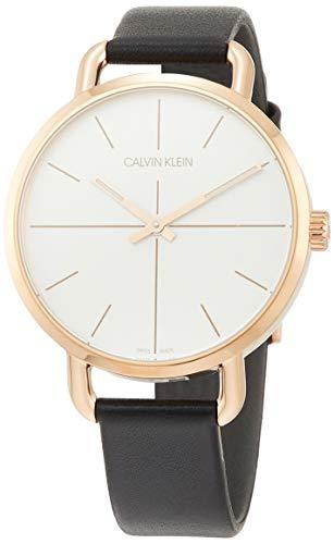 Calvin Klein Unisex Erwachsene Analog-Digital Quarz Uhr mit Leder Armband K7B236C6