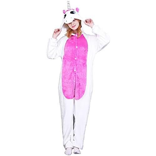pijama de unicornio kawaii Heekpek® Pijama Animal Unicornio Entero Unisex para Adultos con Capucha Ropa de Dormir Traje de Disfraz para Festival de Carnaval Halloween Navidad (M(158-167cm), Blanco)