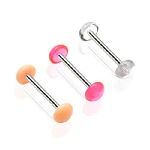 Paula & fritz, piercing per lingua, barra con semisfera (non visibili sotto la luce a uv), colore: rosa e altri, colore: 3er set je eine farbe, cod. ba48-1416_3er