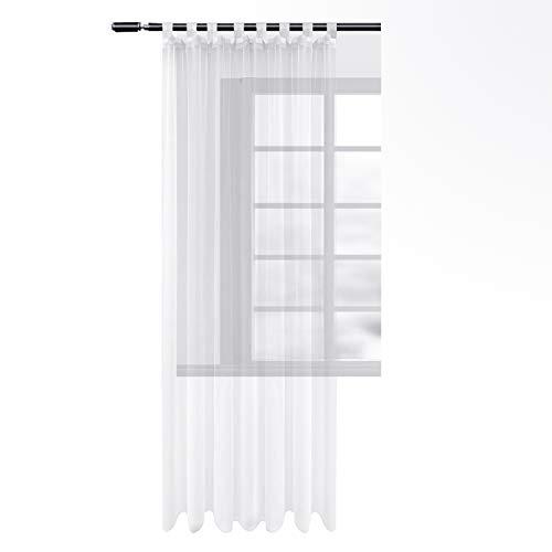 Woltu #1212 - tenda trasparente con passanti, in voile, per soggiorno, camera da letto, casa di campagna, bianco, 140x245 cm