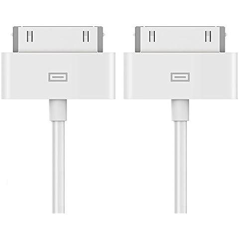 iPhone 4s Cable, JETech 2-Pack Cable de datos de USB Cable de Carga Cargador Cable para iPhone 4/4s, iPhone 3G/3GS, iPad 1/2/3, iPod (1 Meter) -