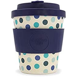 Lunares azul patrón Ecoffee Copa? Azul Lunares? 8oz/250ml? reutilizable bambú taza de café