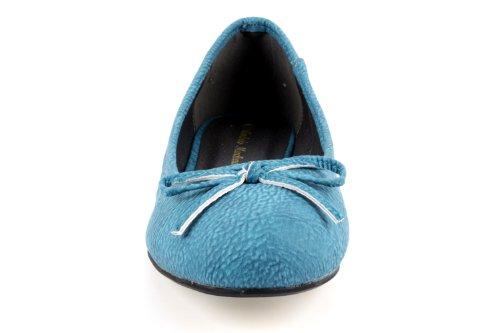 Andres Machado.TG104.Ballerines Classiques.Pour Femmes.Grandes Pointures du 42 au 46. Pull Bleu