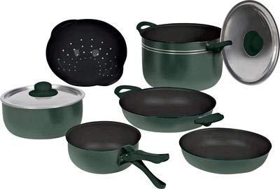Beaver Brand Topfset Selva grün 10-TLG. Antihaftbeschichtung 1 Topf 2 Pfannen 2 Kasserollen 2 Deckel (10 Stück Grün Kochgeschirr-set)