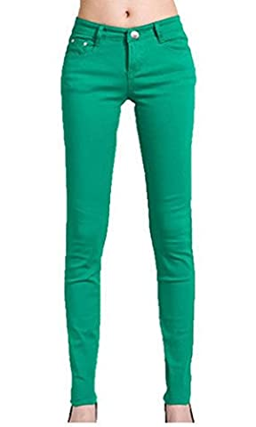 New Ladies Womens Girls Super Stretchy Jegging Jeans JADE GREEN