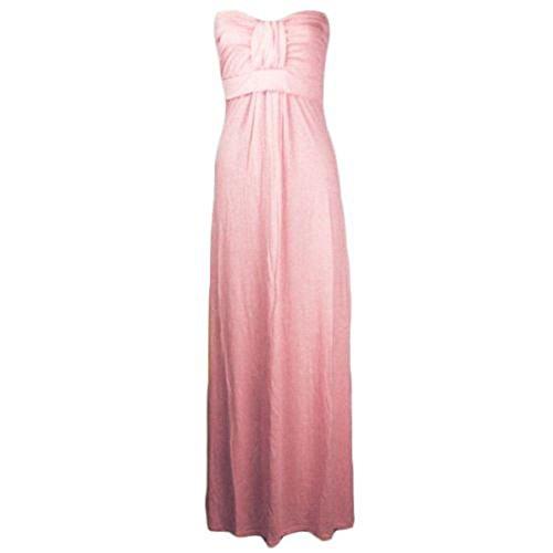 New Ladies Plus Size Bow Knot Tie Strapless Maxi Dress Womens Bandeau Dress 8-26 Rosa Bambino