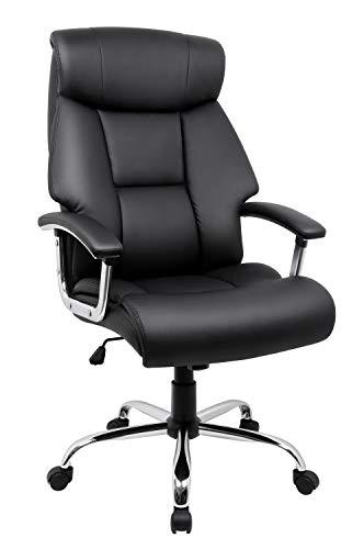 Amoiu sedia da ufficio, sedia poltrona con disegno ergonomico e schienale larga, sedia di pelle di qualità alta, supporto la testa, seduta con doppio strato nero