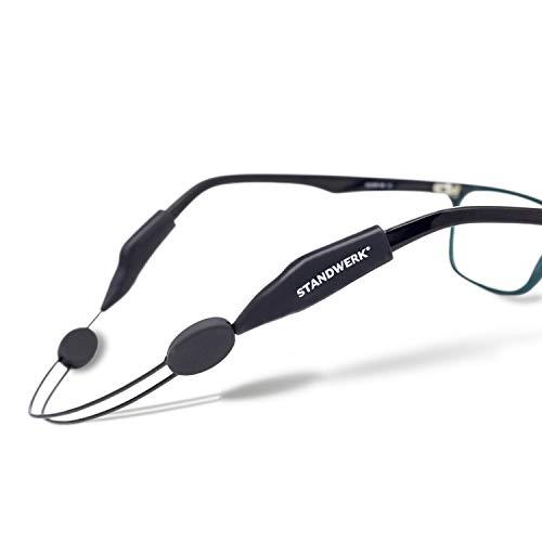 STANDWERK Brillenband - Extrem zuverlässige Brillenhalter für Damen, Kinder, Herren - Brillenkordel geeignet für Sport & Freizeit - Brillenhalterung Wasserfest, Flexibel | Brillenzubehör (Schwarz)