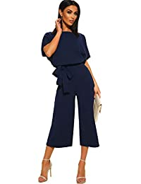 ac3a829c4ffe Longwu Donna Elegante Tuta a Manica Corta a Vita Alta Pantaloni Larghi per  Le Gambe Pantaloni