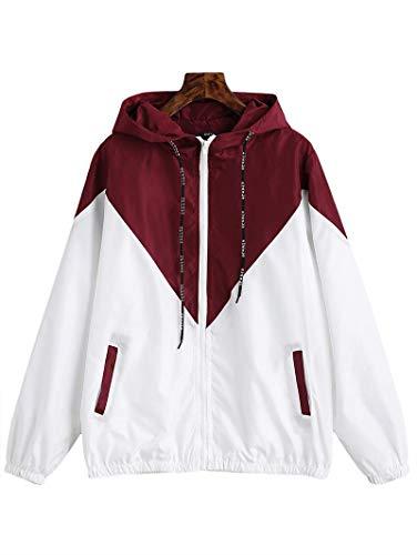 Zaful donna giacca con zip patchwork manica lunga top doppio tessuto con tasca frontale felpa con cappuccio con coulisse capispalla casual allentato (rosso con bianco, m)