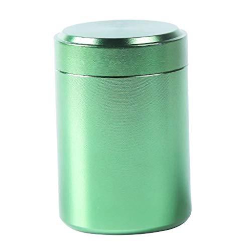 FLAMEER Vorratsdose Kaffeedose Teedose Aluminium Aufbewahrungsdose mit Deckel, 4,5x6,5 cm - Grün