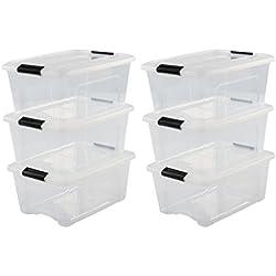 Iris Ohyama, lot de 6 boîtes de rangement empilables - New Top Box - NTB-15, Boîte transparente, couvercle gris, 15 L, 39,5 x 29 x 18,6 cm
