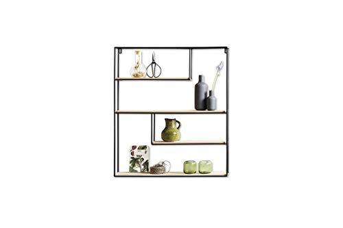 LIFA LIVING Wandregal aus Holz & schwarzem Metall mit 4 Böden | Schwebendes Vintage Holzregal im Naturstil mit 4 Etagen | Küchenregal Gewürzboard Gewürzständer (70 x 60 x 11 cm)