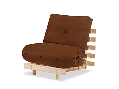 Humza Amani Wood Luxury 1 Seater Metro Futon Sofa Bed Frame with Futon Mattress Set - Brown