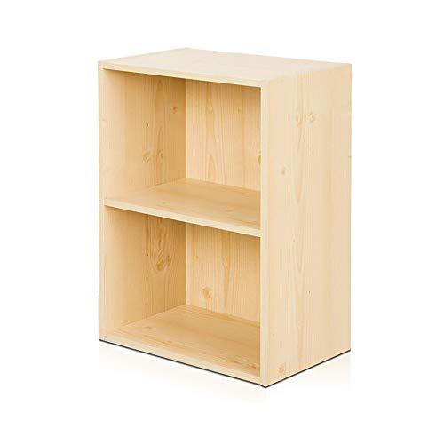 Bücherregale YANFEI, Einfaches, Boden Zweistöckiges kleines Lagerregal, schwarz, braun, rot, weißer Ahorn (Farbe : White Maple) -