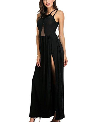 Damen Kleid Maxi Brautjungferkleid Rückenfrei Spliss Elegant Partykleid Cocktailkleid Eveningkleid Strandkleid Schwarz