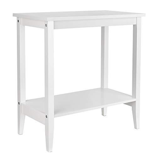 Homfa Beistelltisch Couchtisch Sofatisch mit 2 Ablagen Wohnzimmertisch Nachttisch Tisch Holz Weiß 60x30x60cm