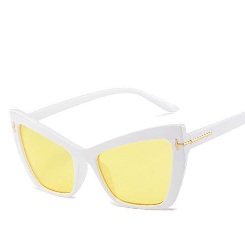 Dilunsizrf Sonnenbrille, Brille, Schwarz Silber Cat Eye Sonnenbrille Retro Shades für Frauen Augenbraue Stil Big Sun Glasses Übergroße Sonnenbrille Uv400,White/Yellow