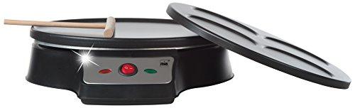 Mia CP 6075 Crepes-/Spiegelei-/Pancake-Maker, 2 unterschiedliche Bakc-/Grillplatten abnehmbar, 1,000 W, schwarz