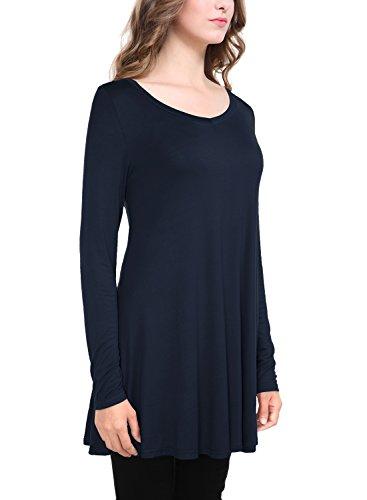 BaiShengGT Femme T-Shirt Manches Longues Top Imprime Tunique Decontracte Marine fonce-T01