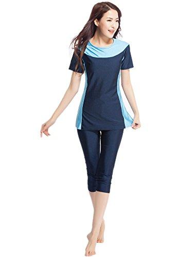 Damen Kurz Hülse Muslim islamisch Burkini Bescheiden Bademode Dame Badeanzug (L, Marine blau) (Lange Ärmel Athleta)