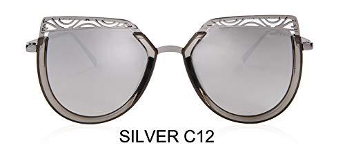 LKVNHP Uv-SchutzAnti-reflektierendeFarbverlauf CateyeSonnenbrille Frauen MetallAushöhlenDesign Champagner Sonnenbrille VintageWTYJ013 Silber c12