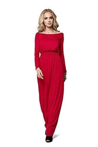FuturoMode Elegant Empire Maxi Kleid Gesamtlänge U-boot-ausschnitt  Langärmlig Cocktail Style Offen Halsausschnitt