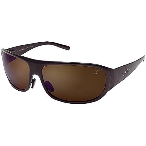 Xezo Incognito de hombre - Gafas de sol envolventes de titanio macizo polarizadas con acabado de color café semibrillante
