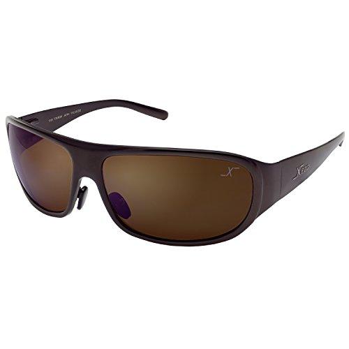 Xezo UV 400Curve Base 8, Solido Titanio Occhiali da Sole polarizzati con Lente Marrone caffè, Finitura Metallica, 48,2Gram