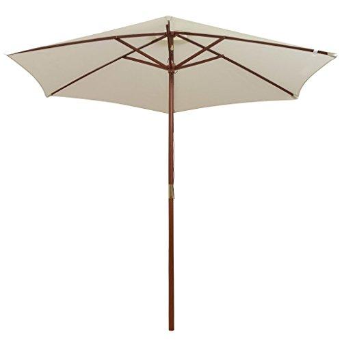 Festnight Parasol avec Poteau en Bois Protéger Contre Rayons UV pour Plage Jardin Piscine 200 x 300 cm Blanc Crème