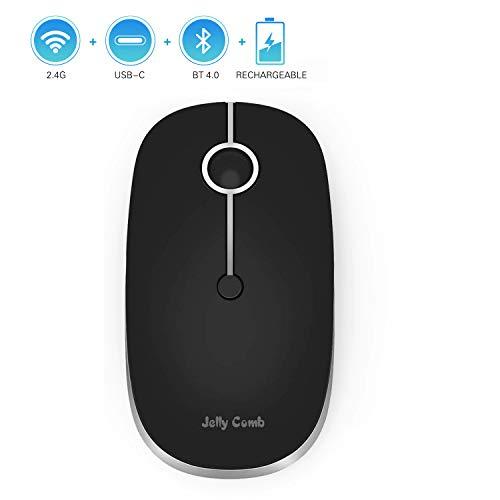 Jelly Comb 2.4G + Bluetooth + USB C Optische Funkmaus, Kabellose Schnurlose Wireless Wiederaufladbare Computer Maus mit USB A/Type C Empfänger für Laptop/PC/Tablet/Smartphone, Schwarz und Silber