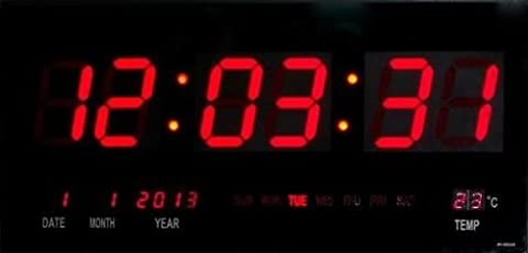 Große LED Uhr Wanduhr DatumTemperatur Anzeige Digital Datum Bar Cafe
