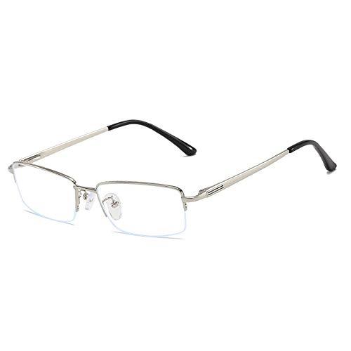 WULE-Sunglasses Unisex Universal Square Anti Blue Männer Computer Augenschutz Brillengestell Plain Glasses (Color : Silber, Size : Kostenlos)