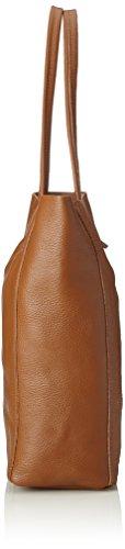 Chicca Borse 8872, Borsa a Spalla Donna, 37x41x14 cm (W x H x L) Marrone (Cuoio)