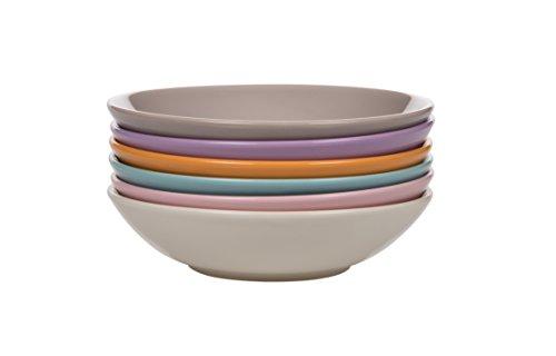 Kaleidos Mi x Match Lot de 6 assiettes creuses, en grès, couleurs différentes (ivoire/rose/bleu orange/lilas/beige), 21 x 21 x 10 cm
