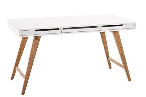 Home-office Sekretär (CLP Schreibtisch Porto V2 aus MDF und Eichenholz I Bürotisch mit 2 Schubladen und großer Arbeitsfläche I In verschiedenen Größen erhältlich 140 x 60 cm)