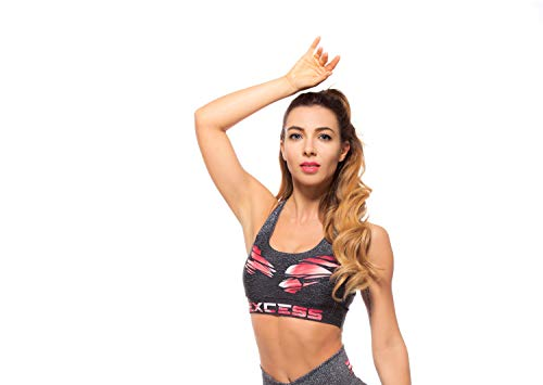 Excess Sujetador Deportivo para Mujer Shock Absorber Top Push Up Fitness Yoga Pilates Running Gimnasio Maillot de Ciclismo 3D de Fiesta Mujer Sexy Italiano Camisetas Dim Músculo (L)