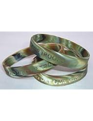 """Wristbands Online - Pulsera (diseño de camuflaje militar, con inscripción en inglés """"Support Our Troops""""), color verde"""