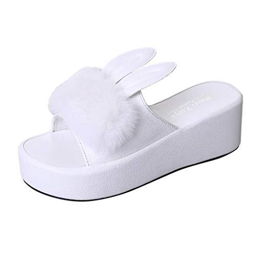 Sandali con Zeppa da Donna Eleganti Coniglio a Pelliccia Pantofole Estive Basse Ciabatte Moda Scarpe Da Spiaggia Bambine E Ragazze Antiscivolo Pantofole Da Casa Sneakers Infradito