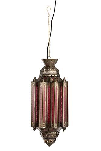 LAMPE A SUSPENDRE GYPSY VERRE/METAL ROUILLE/OR (20x20x65cm) JOLIPA JLINE 89002