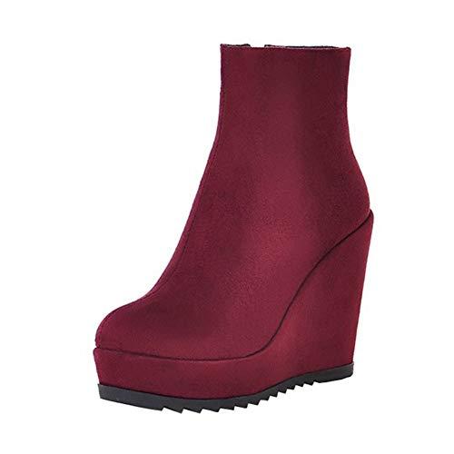 Y2Y Studio Femmes Bottines Talon Compensé Suède Chaussures Unie Simple avec Plateforme Confortables 11cm Elégant avec Bout Rond Rétro pour Hiver et Automne
