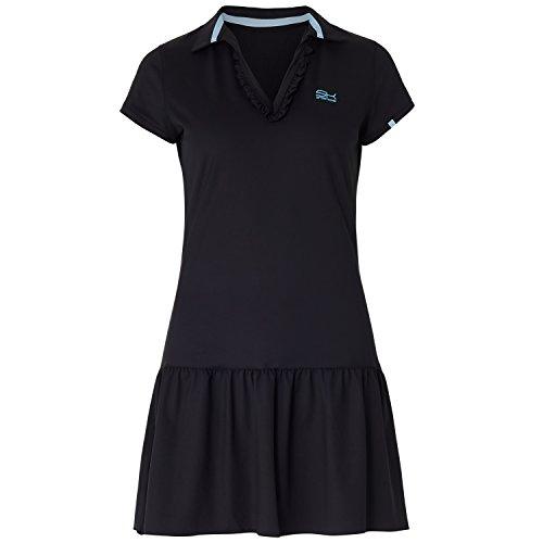 Sportkind Mädchen & Damen Tennis / Hockey / Golf Polokleid mit Rüschen, schwarz, Gr. 158